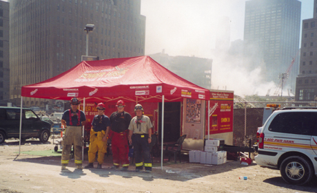 First team at Ground Zero - Charlie Miller, Brian Hendrickson, Russell Palmer and John McCarthy. Photo taken on September 13, 2001