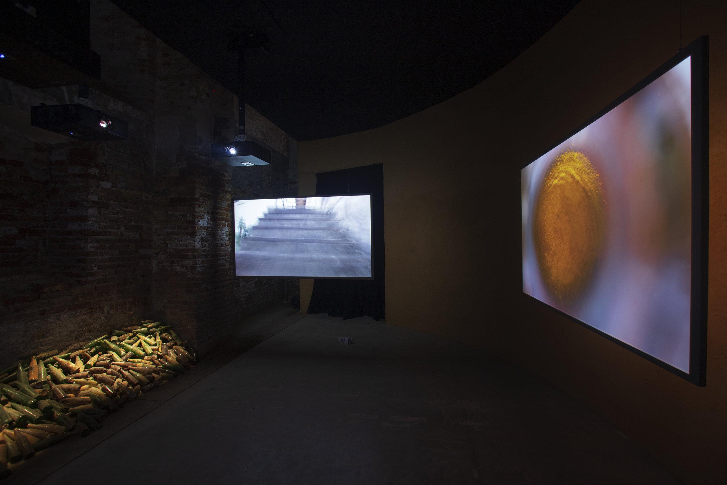 Glass Factory II  (2019) by Selasi Awusi Sosu. Installation view of Ghana Freedom. Photo by Italo Rondinella. Courtesy of the artist, La Biennale di Venezia.