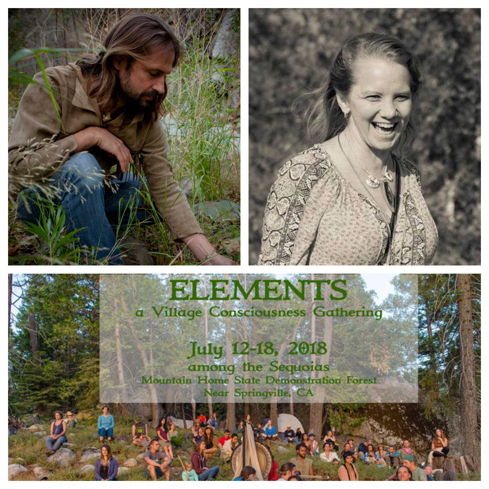Top: Photos of Chris Morasky, Rachel Natland via  Wisdom Keepers . Bottom photo:  Elements Gathering .