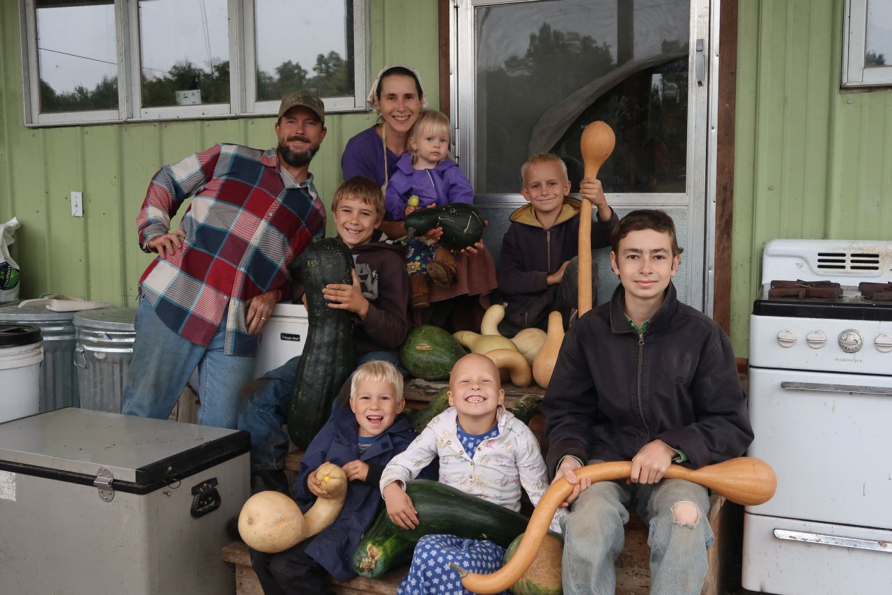 The Smyth family of YouTube's  1000's of Roots  channel: Kip, Carrie, Caleb, Joshua, Nathan, Esther, Joseph, and Naomi Smyth. Photo credit:  1000's of Roots .