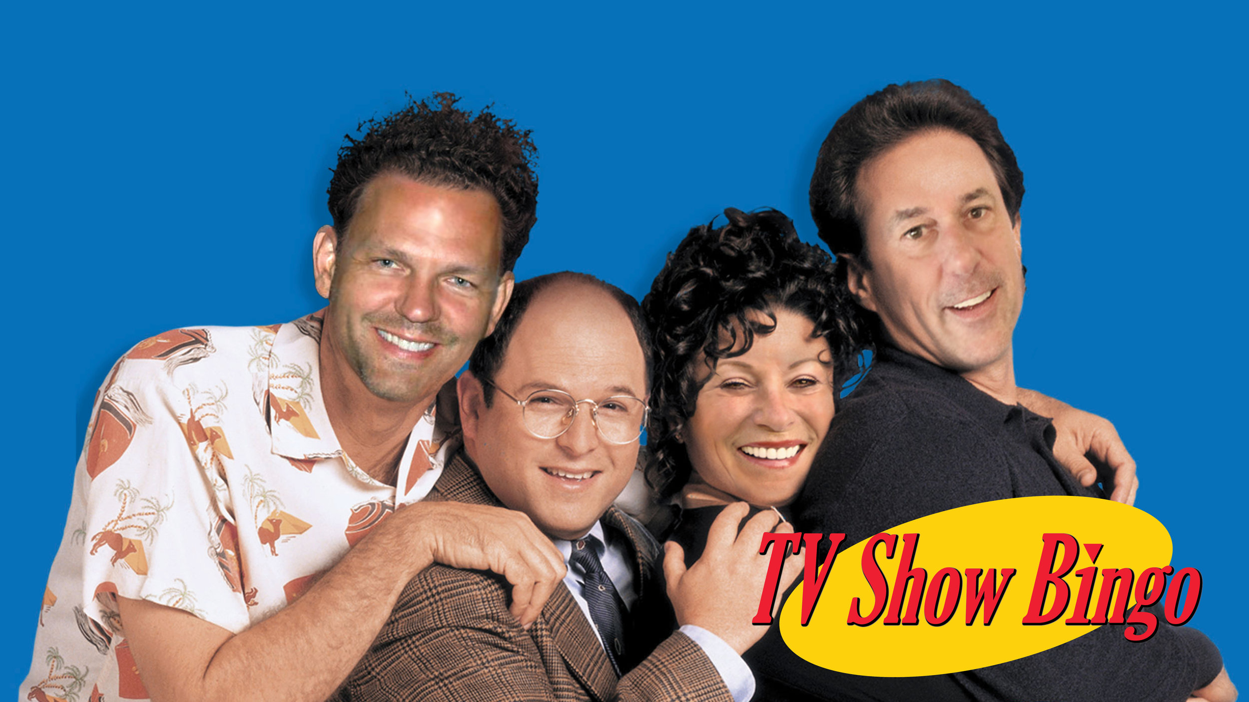 (From left to right) Matt Kramer-Cudney, George Costanza, Joan Benes-Lloyd and Dave Seinfeld-Armstrong pose as the Seinfeld cast for TV Show Bingo.jpg