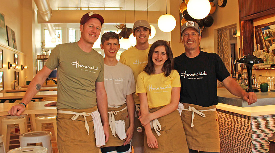 Standing in their new Horseradish restaurant are, from left, Matt Trotter, Bennett Drake, Atticus Hiestand, Lauren Pearsall and Alex Pearsall. The Princeton restaurant opened Memorial Day weekend. Ariana Hones photo.
