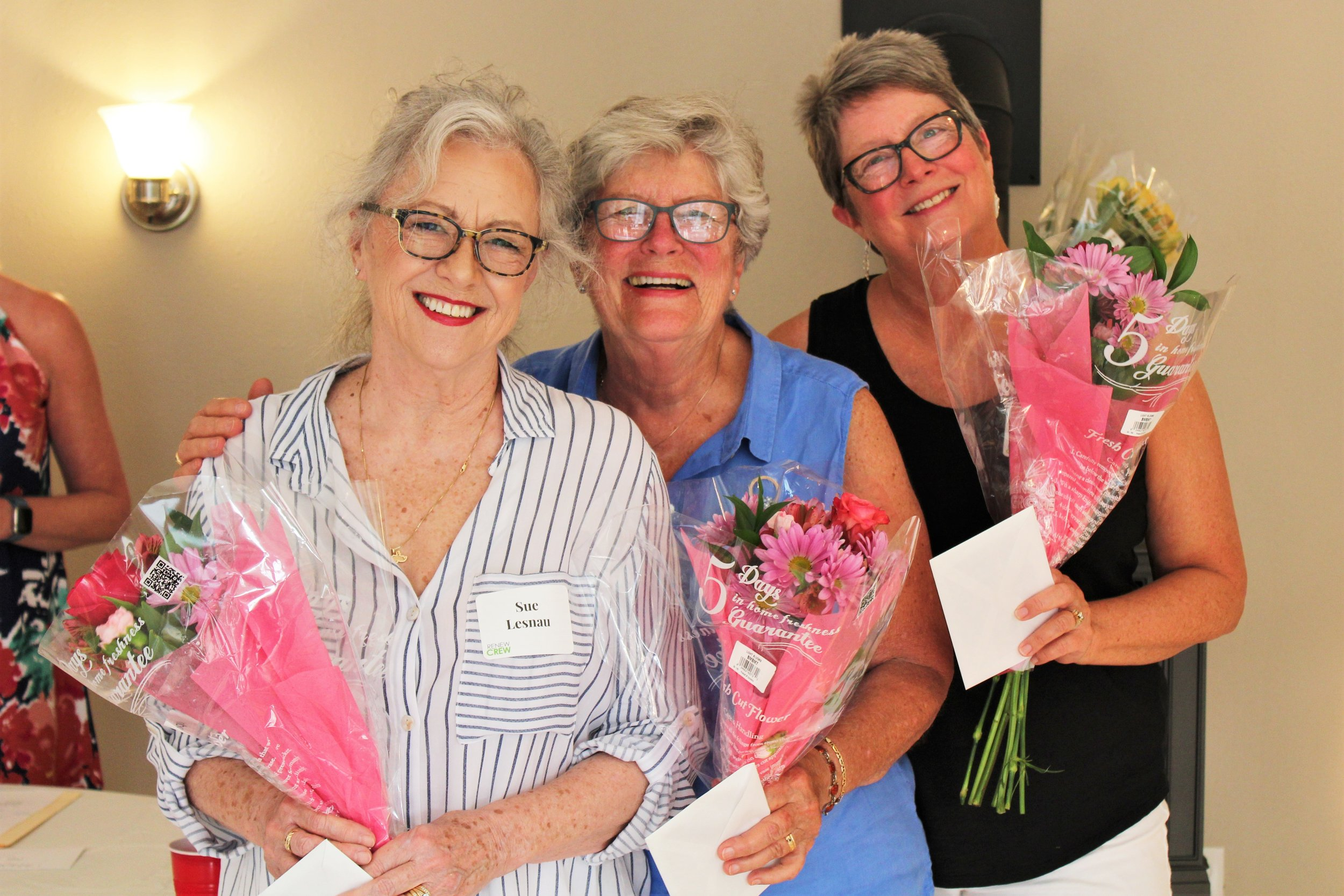 Front desk volunteers Sue Lesnau, Boni Jensen, and Kim Bates were recognized for their ongoing support and talent.