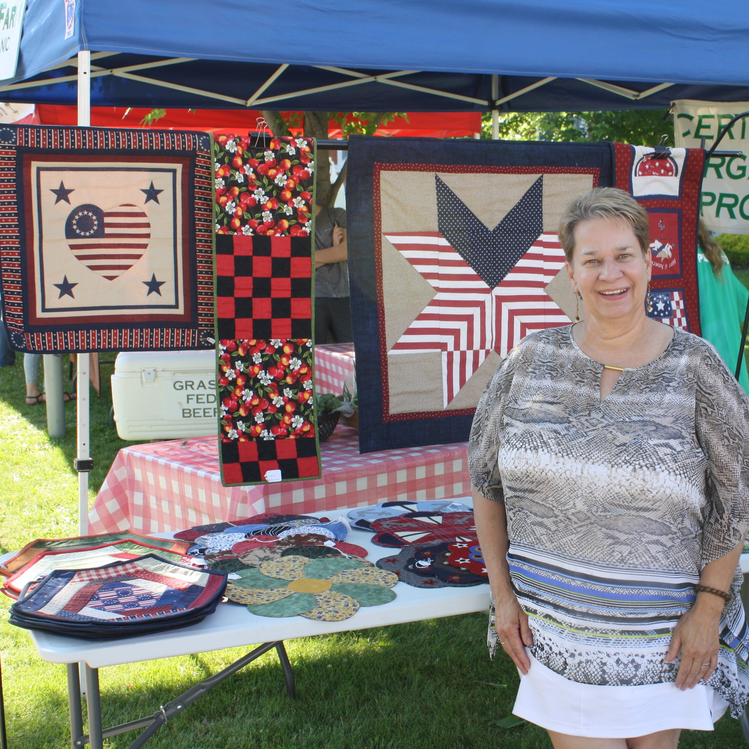 Textile Artist Pat Ehrenberg is also a regular vendor at Town Square's farm markets.