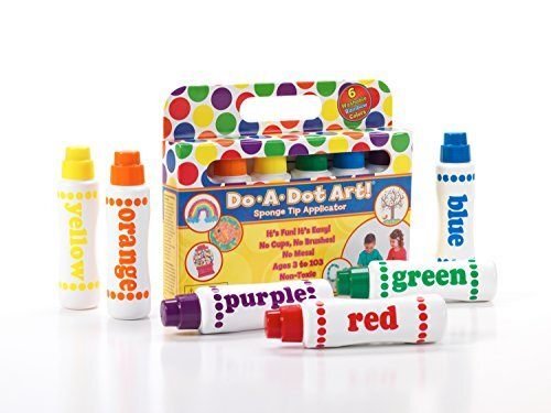 Markers with a large sponge tip dauber engineered to be mess free, never dry out, and make a perfect dot every time. Kids love mixing, blending and layering colors to create masterpieces.
