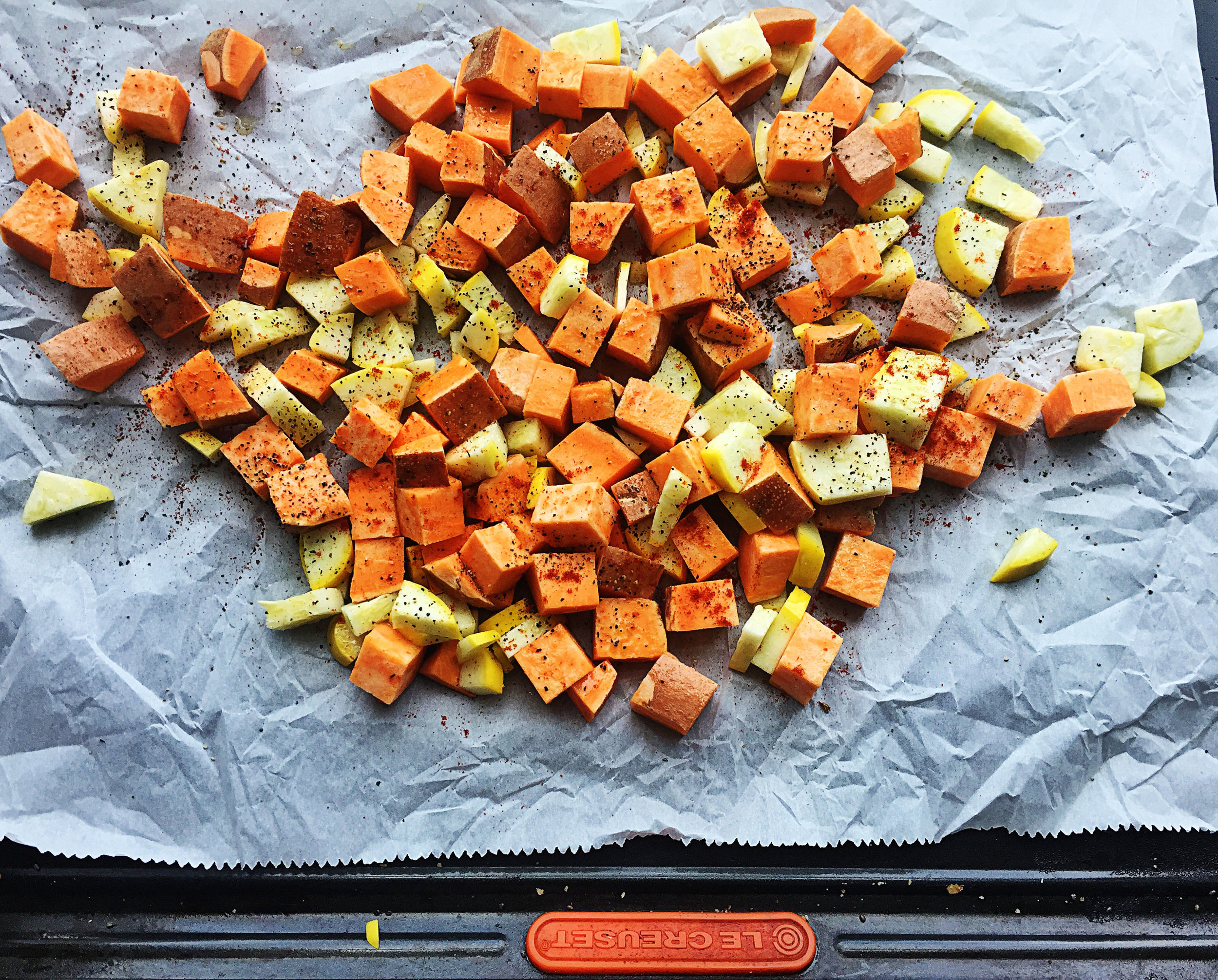 1. Place chopped sweet potatoes and zucchini in a mixing bowl with oil, salt, and pepper. Mix well. Place on a parchment lined baking sheet and place in oven for 25 minutes. Set aside to cool when done.