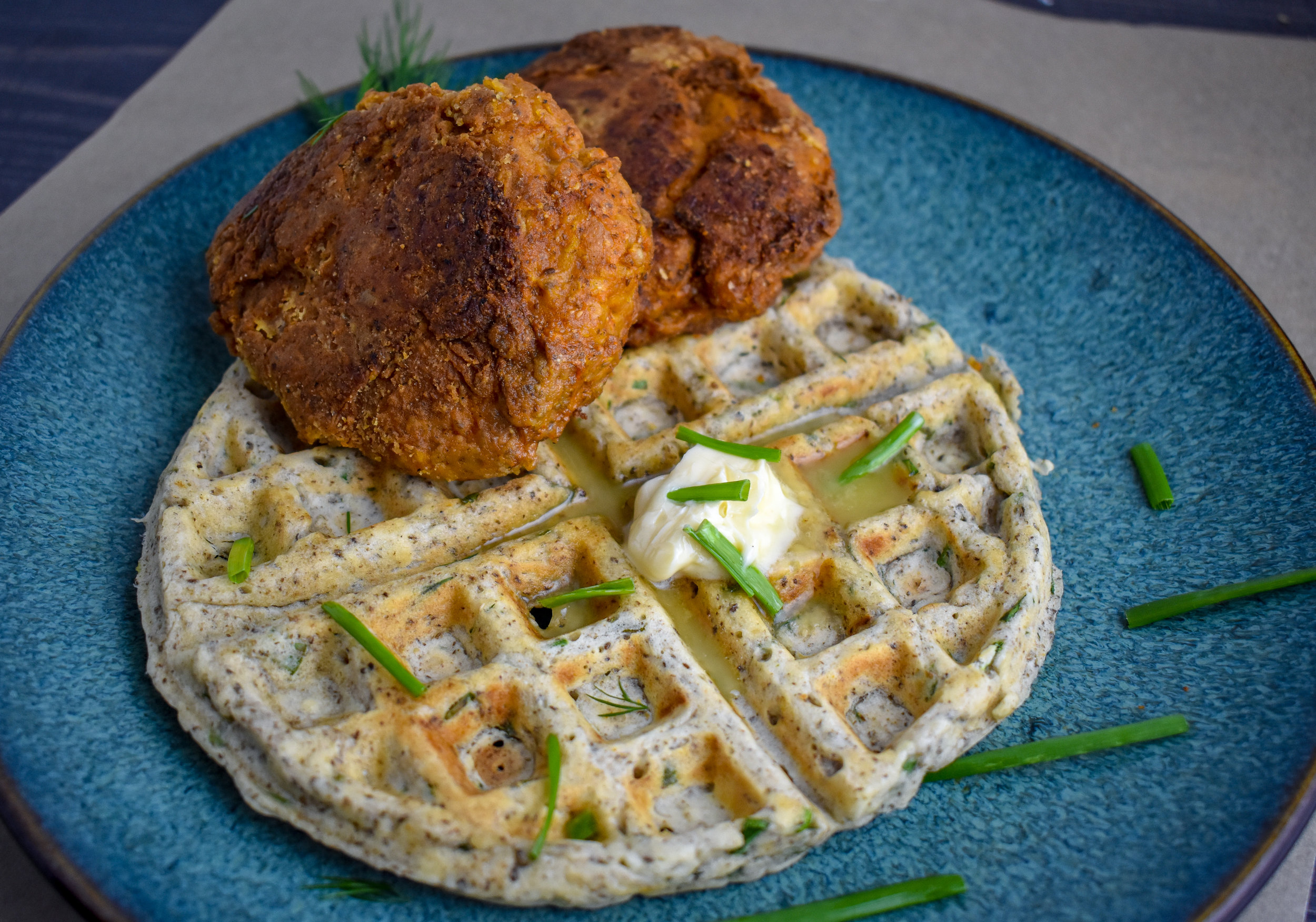 7. The last step is to make the waffles. Oil up your waffle iron. Pour in batter to coat the waffle iron (about 1/3 - 1/2 the mixture). Cook for about 6-7 minutes on medium heat. Serve your waffle with chicken. ENJOY!