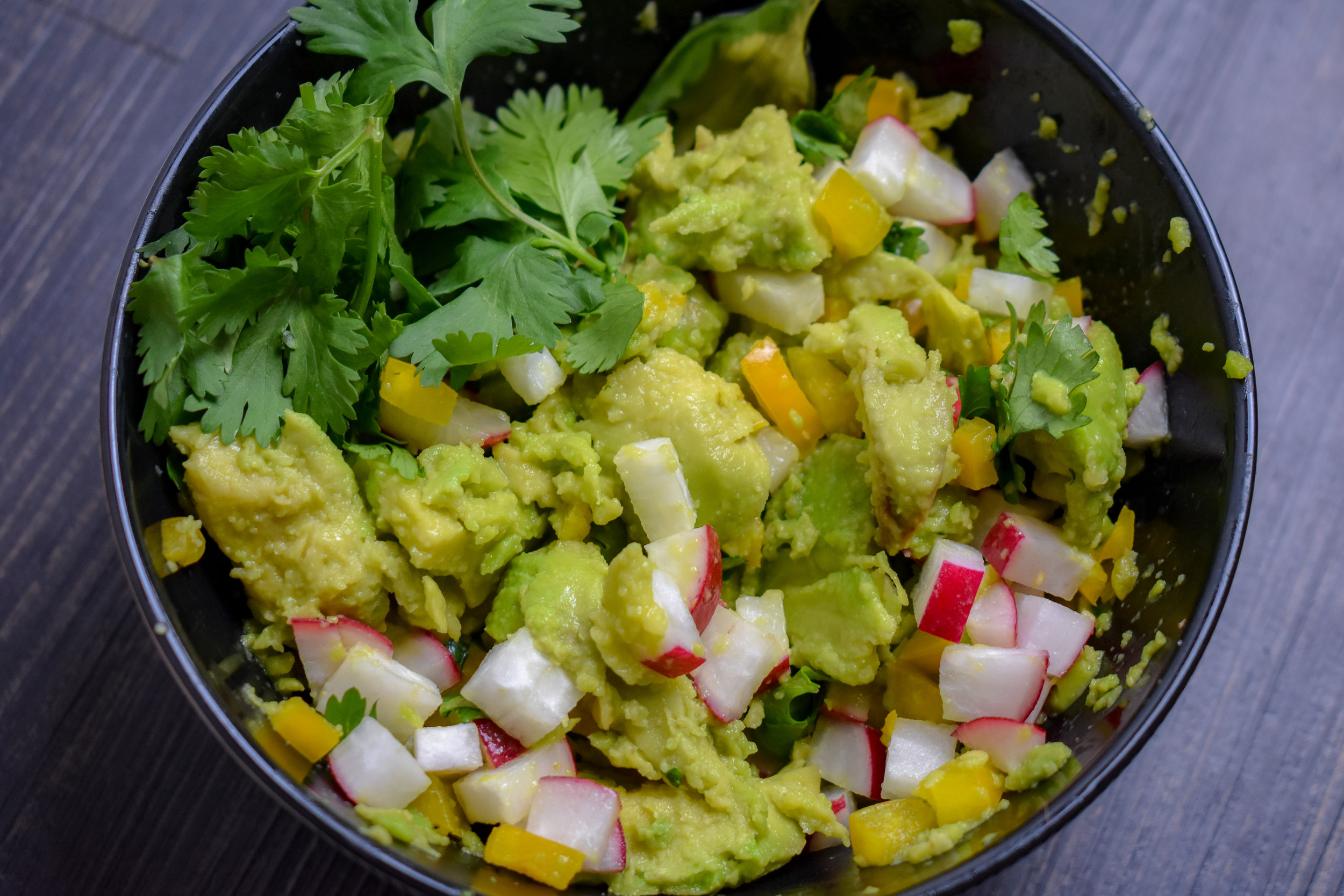 6. Finally, for prep, mix together the guacamole ingredients.