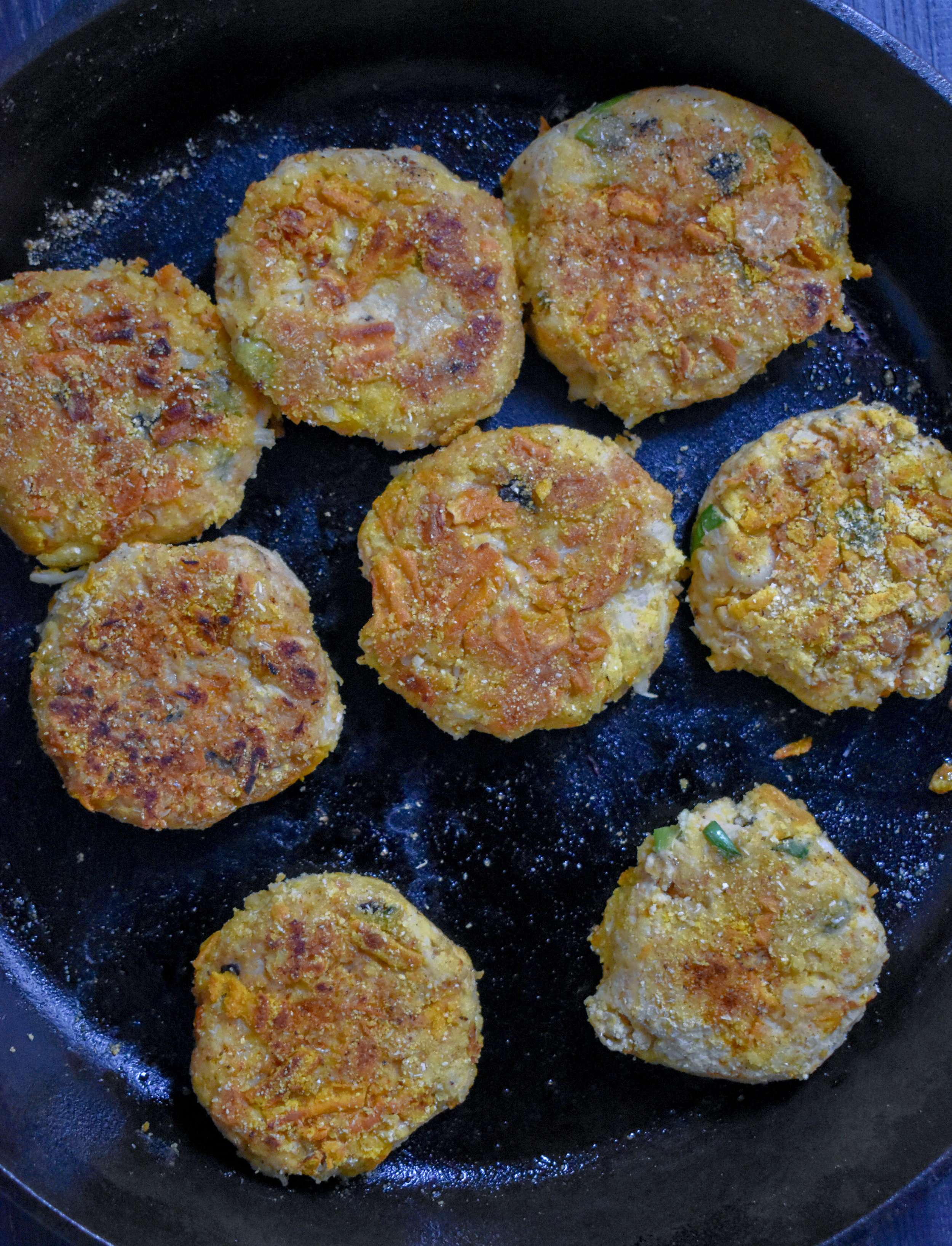 6. Add 2 tbl of walnut or other oil to a large castiron pan and heat over medium heat for about 2 minutes. Once hot, add patties and cook for 4 minutes on each side until golden brown.