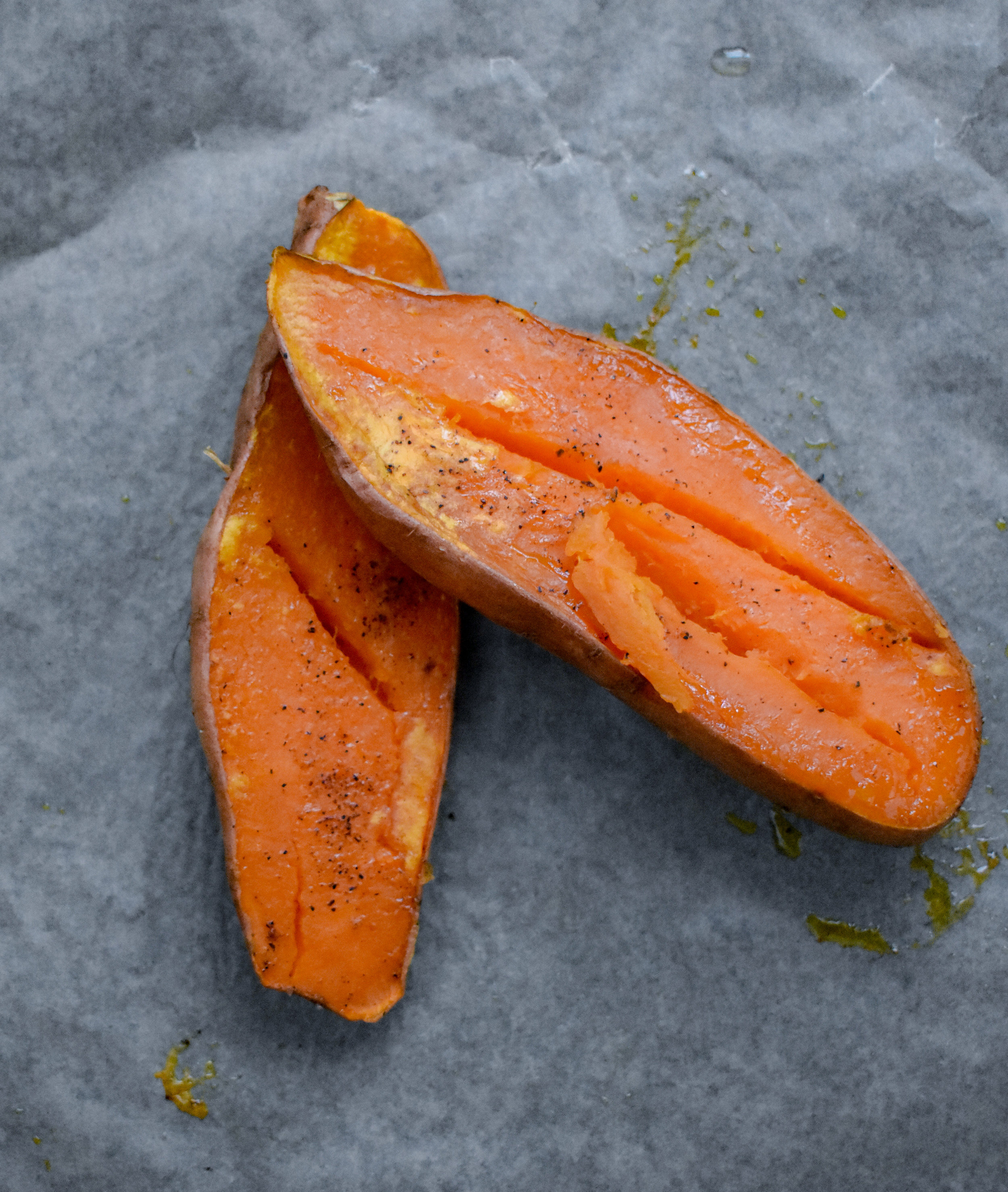 1. Chop sweet potato in half and rub with olive oil. Place face down on parchment paper lined baking sheet and bake at 400F for 40 minutes or so until fork soft.