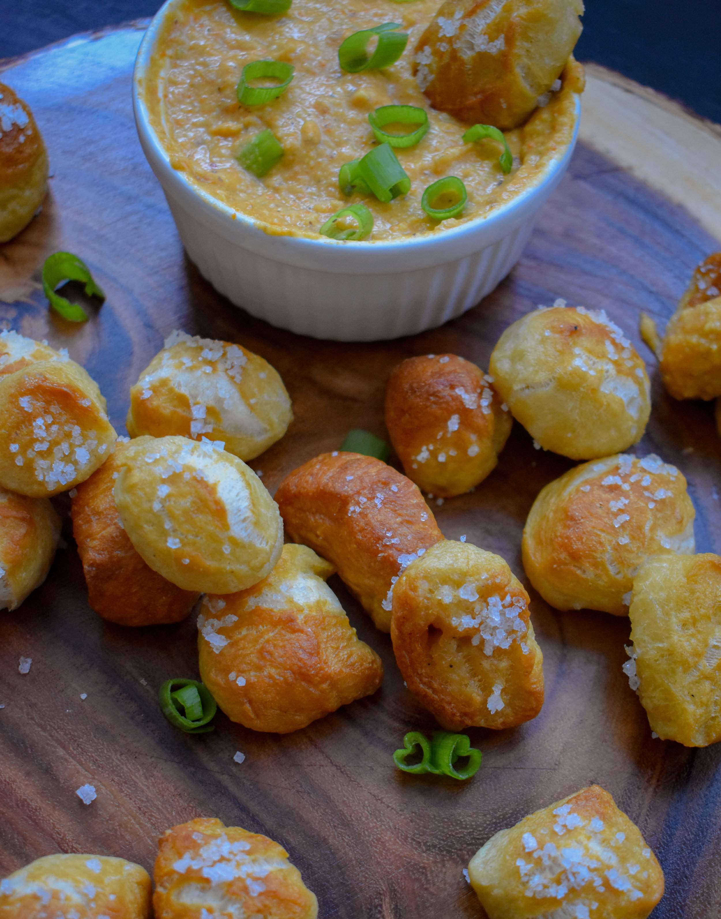 10. Warm your beer cheese while the pretzels bake. Serve with cheese and salivate!