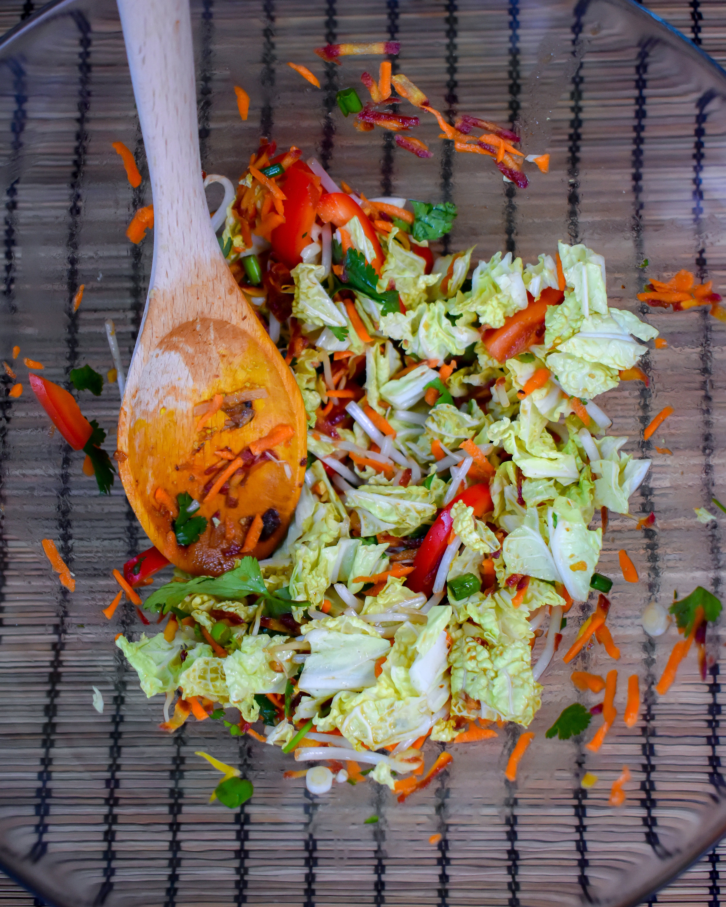 7. While the potatoes/tofu cook or if you are done, mix together the salad. Set aside.