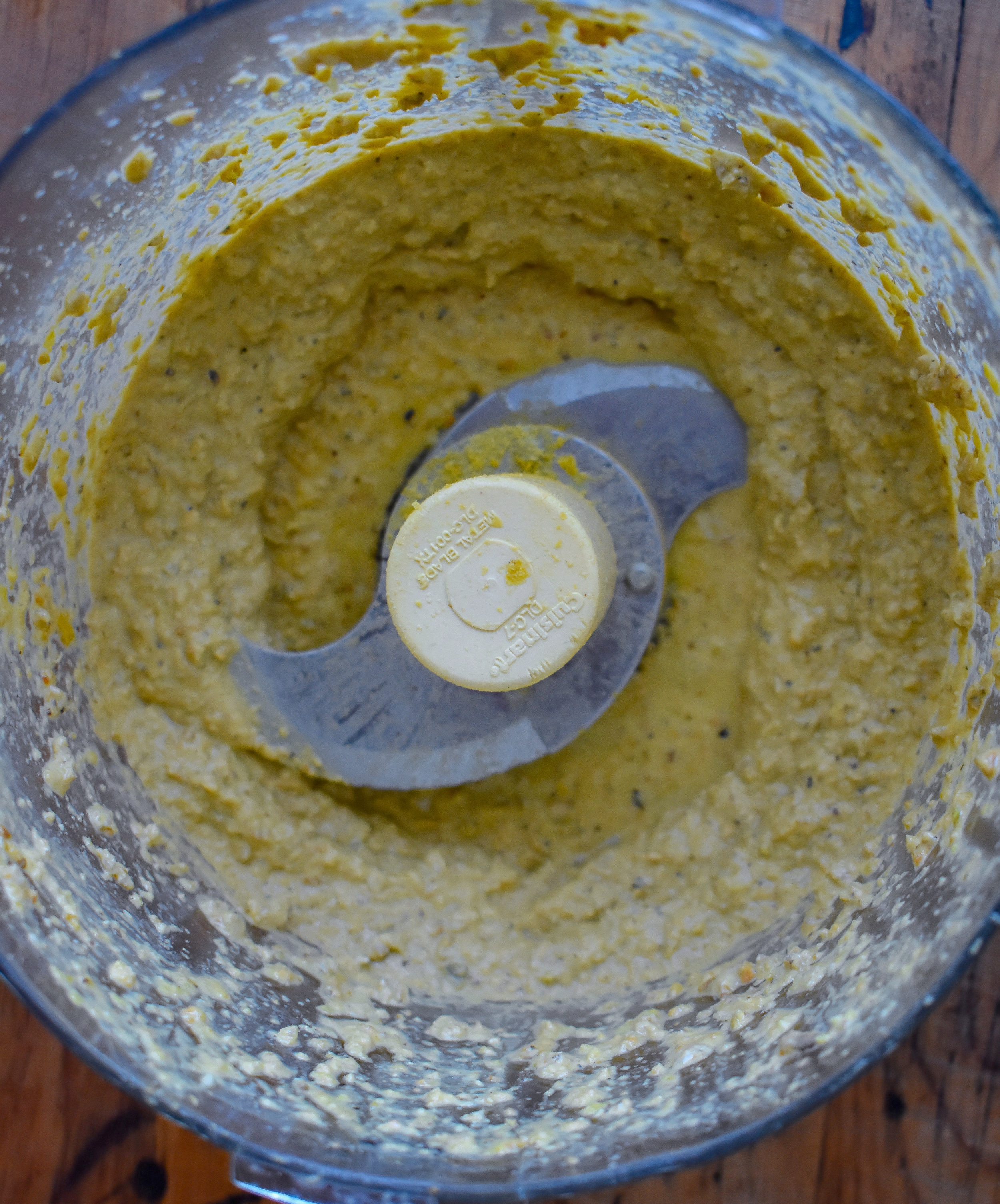 5. For the pistachio cheese sauce, add all the ingredients to a food processor and blend for 10-15 seconds. Scrape down sides + repeat process until well blended. If too thick, add more water/vegetable broth.
