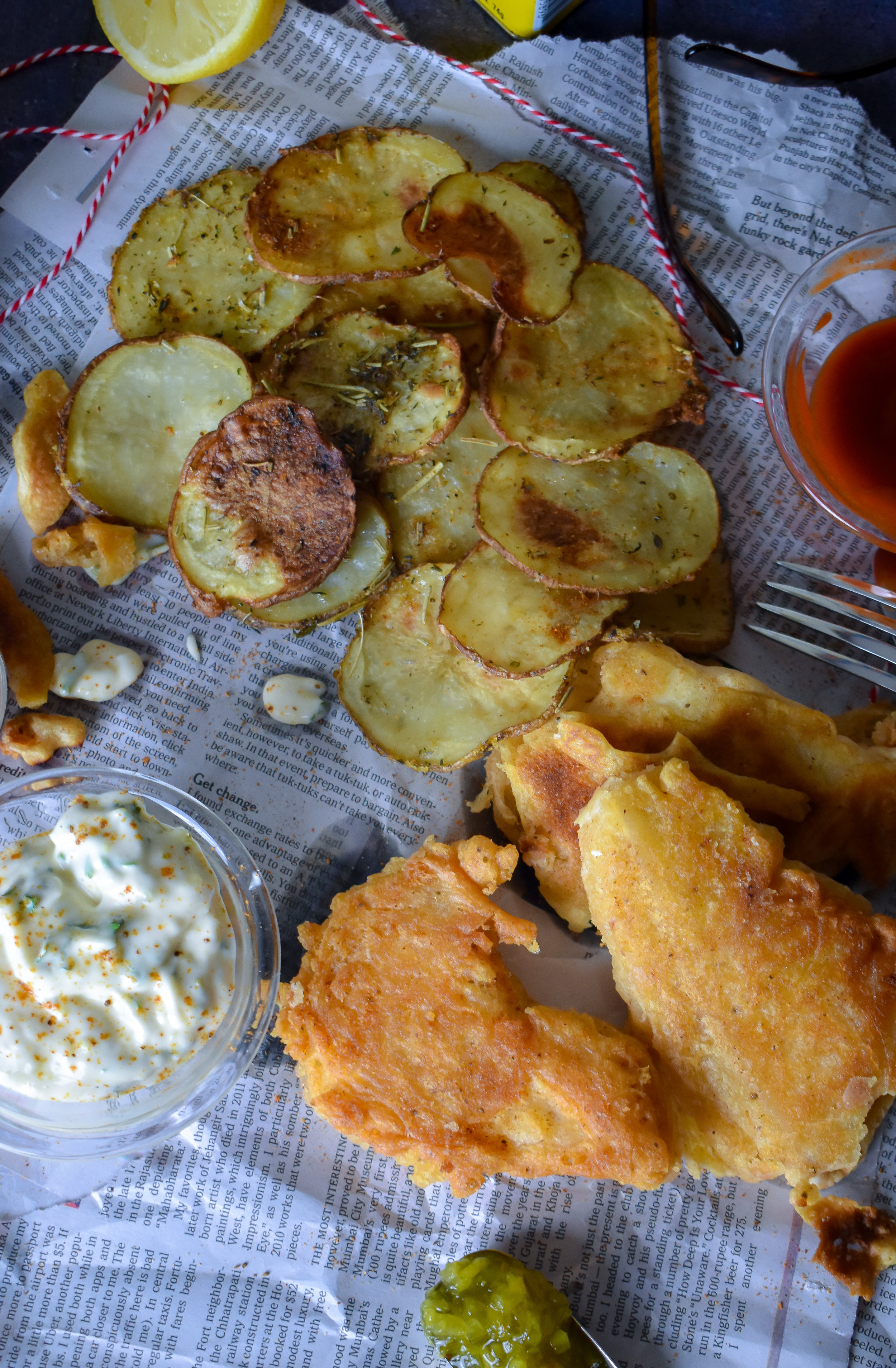 9. Serve up the chips + fish with tartar sauce. Enjoy!
