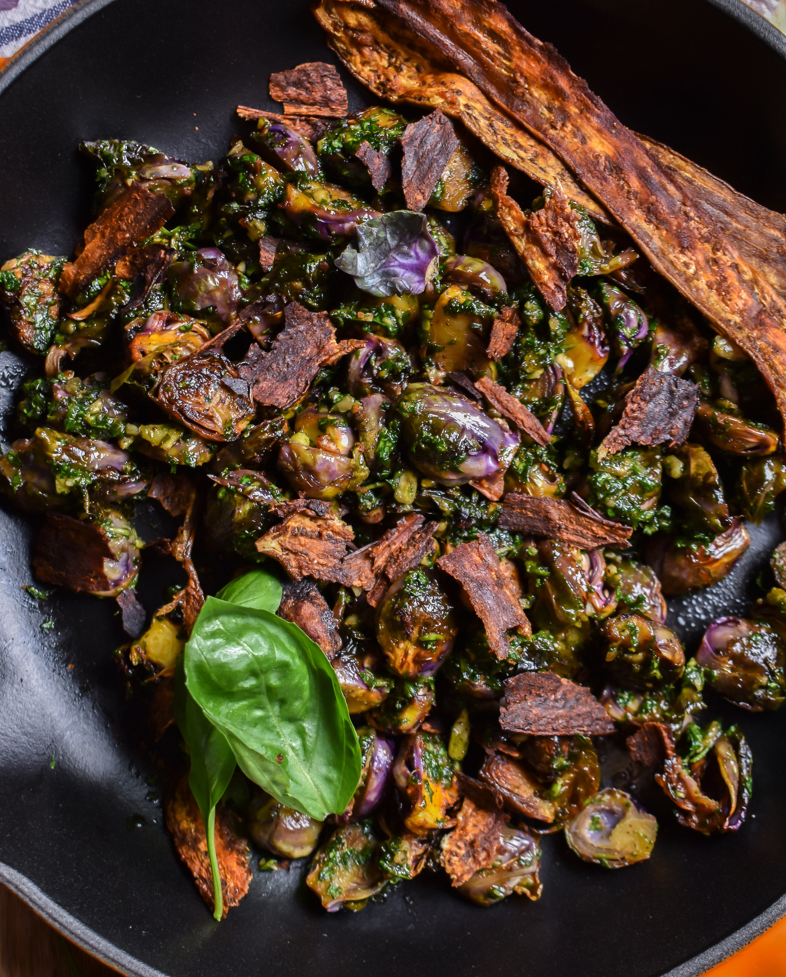 3. To finish, dice up eggplant bacon and mix with brusssel sprouts. Enjoy!