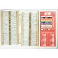 One resistor, 330 Ohm to 1 kOhm. It's hard to buy just one resistor, so  here is a link to a kit .