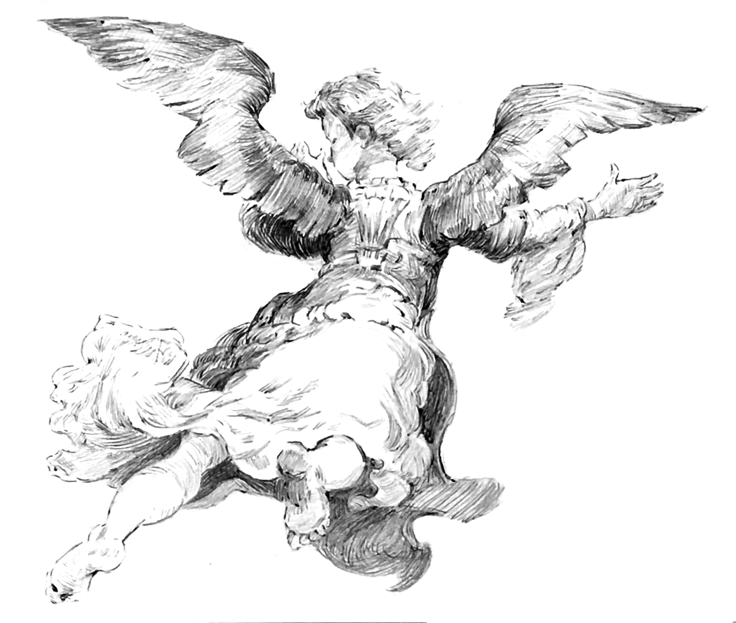"From Rembrandt's ""Archangel,"" 1637, Ballpoint Pen"