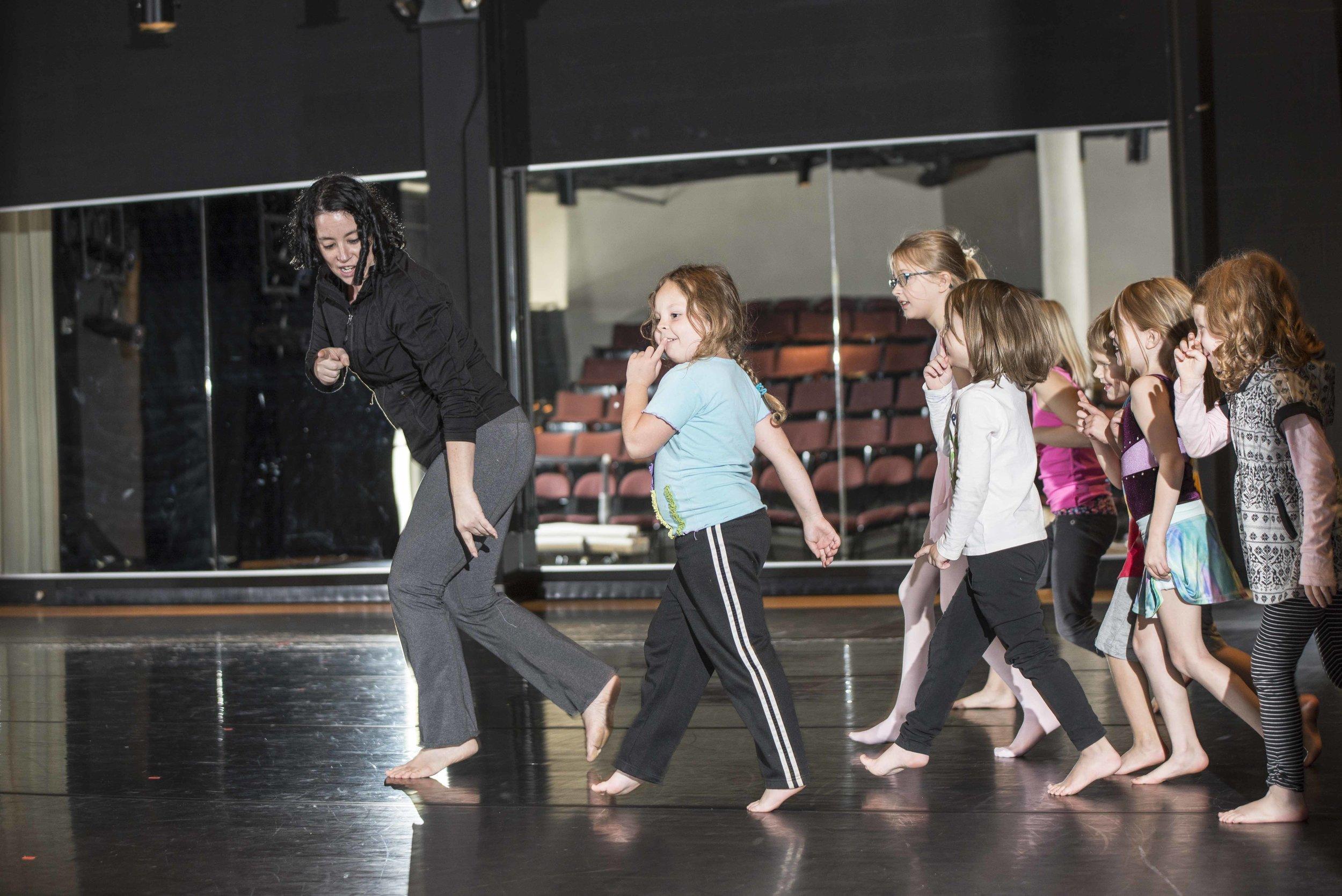Rachel leads a Modern class in an exercise across the floor. Photo: Amelia Falk
