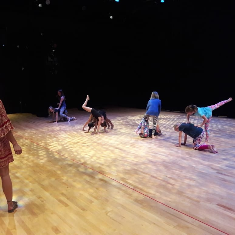 Contemporary ballet (ages 7-11) students rehearse before the final performance