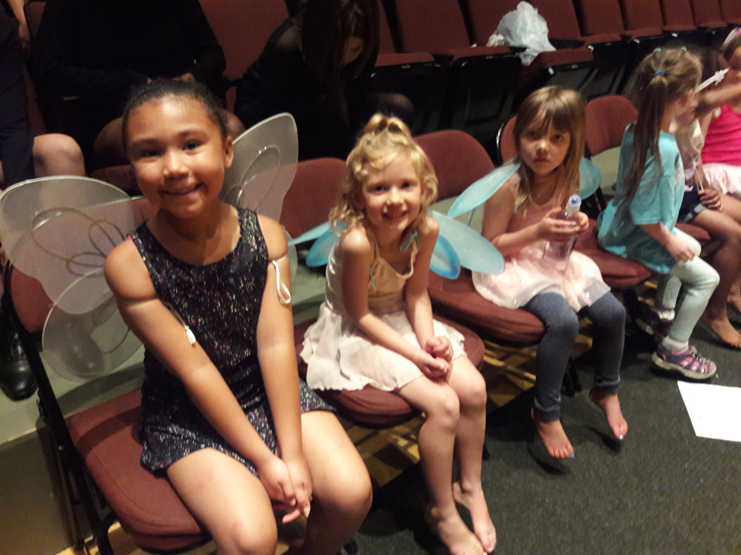 Dance Fundamentals students (ages 5-6) wait patiently during dress rehearsal