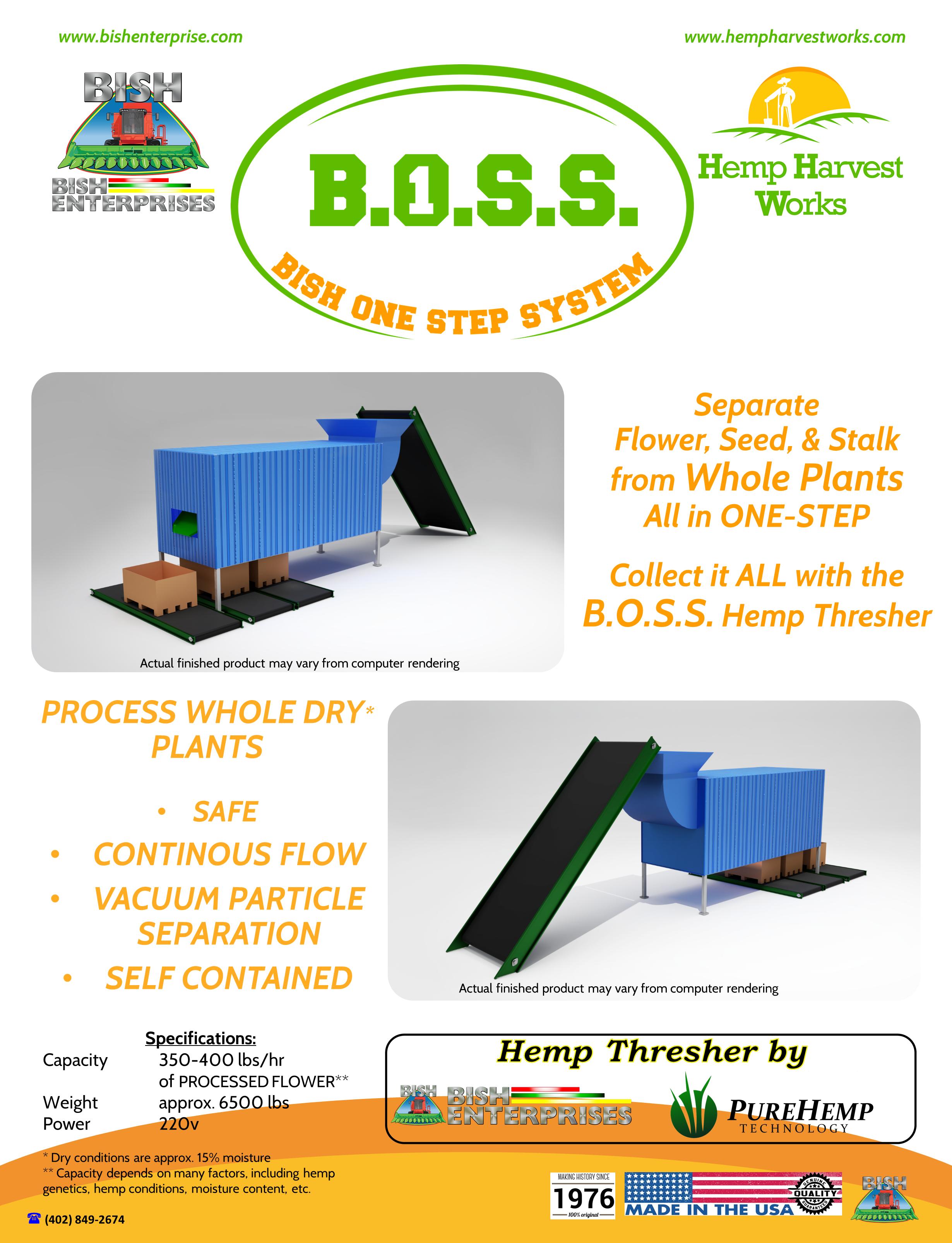 Hemp Thresher, Hemp Processor, Hemp Stripper, Destemmer, Hemp Destemmer, Processed Hemp, Hemp Processor, Whole Plant Stripper, Hemp Dechordicator, hemp dechorticator, BOSS, B.O.S.S., Boss Hemp Thresher, BOSS Hemp, BOSS BISH, PureHemp Technology, Pure Hemp Technology, Pure Hemp, CBD Processor, Flower Processor, Flower Stripper, CBD Stripper, Hemp Flower, CBD Flower, Hemp Seed, Hemp Stalk, Hemp Fiber, BOSS Thresher