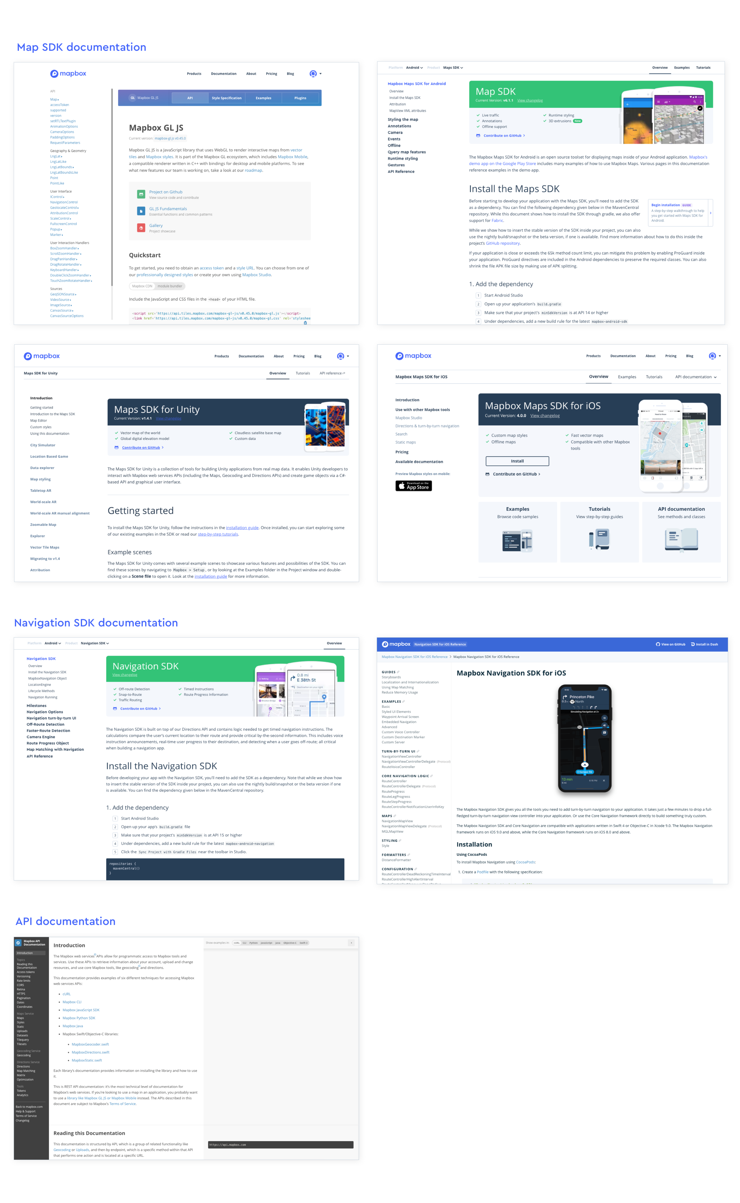 The variety of styles used just for Mapbox documentation pages