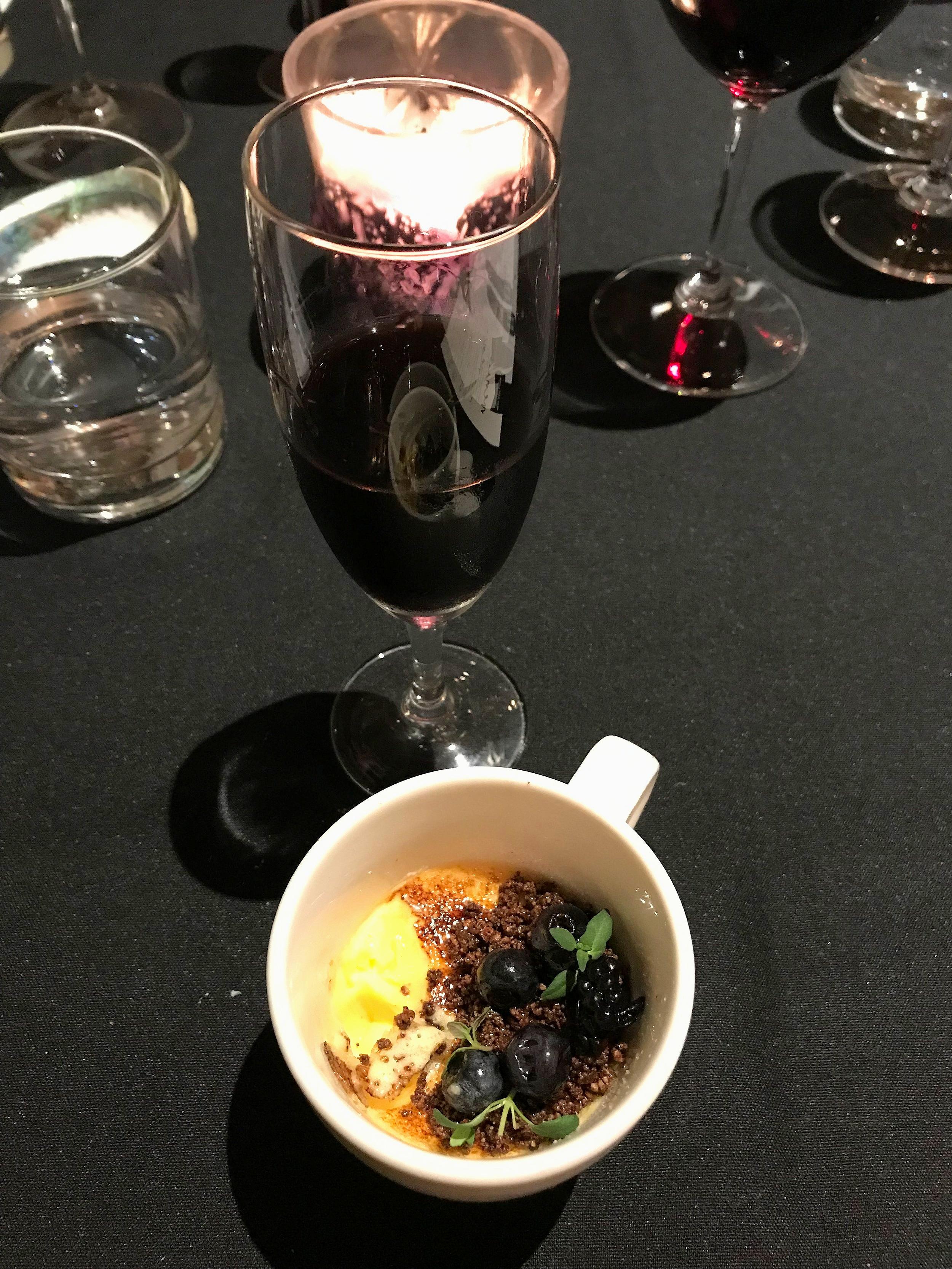 Bone marrow brulee, Autumn berries, thyme & coffee soil