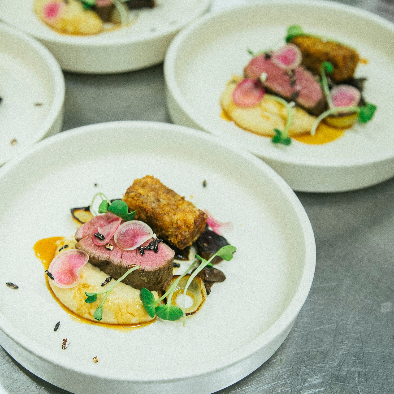 Confit lamb belly and seared aged lamb topside