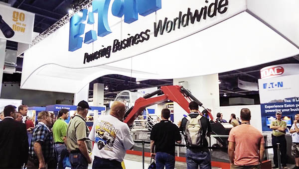 Eaton powering business worldwide trade show booth in Las Vegas show
