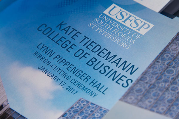 Kate Tiedemann College of Business invitations to grand opening of Lynn Pippenger Hall