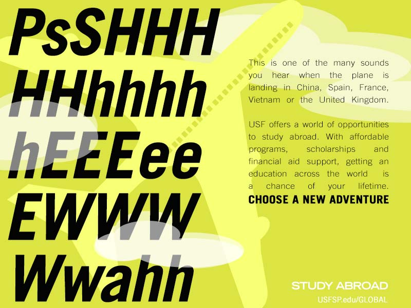 Student campaign to encourage students to take part in study abroad - choose a new adventure