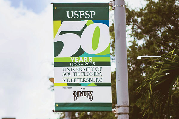 USFSP 50 years city banners hung throughout downtown St. Petersburg