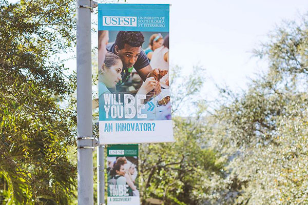 Campus banners hung throughout campus to increase university brand awareness