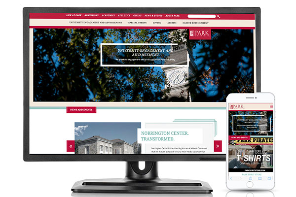 Website and mobile site of Park University Advancement