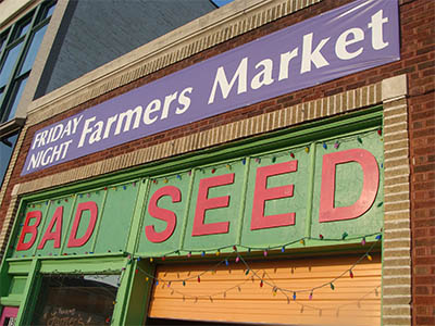 Bad Seed Farmers Market sign in downtown Kansas City, MO.