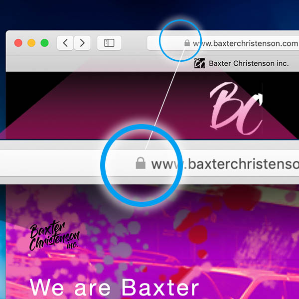 Illustration of web address in web browser address bar showing the lock symbol