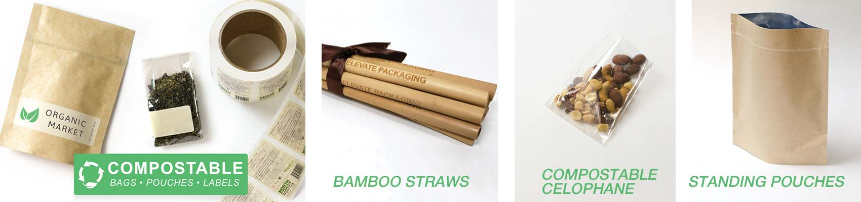 Compostable pouches, Cellophane, stickers, packaging and bamboo straws