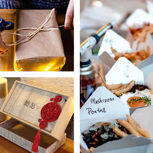 Eco friendly packaging including wood boxes, brown paper and raffia, and Chinese waxed paper food containers.