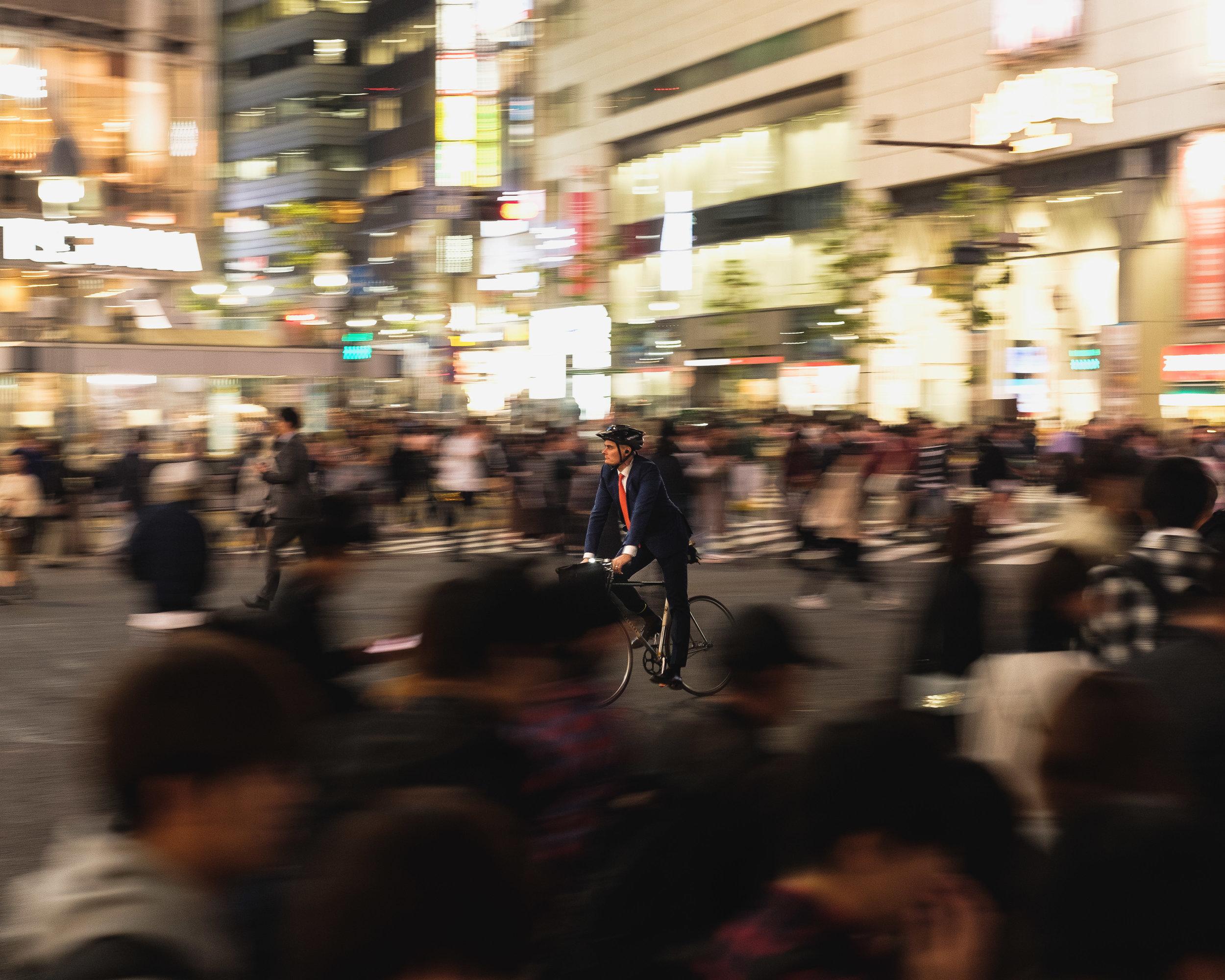 Bicycling through Shinjuku