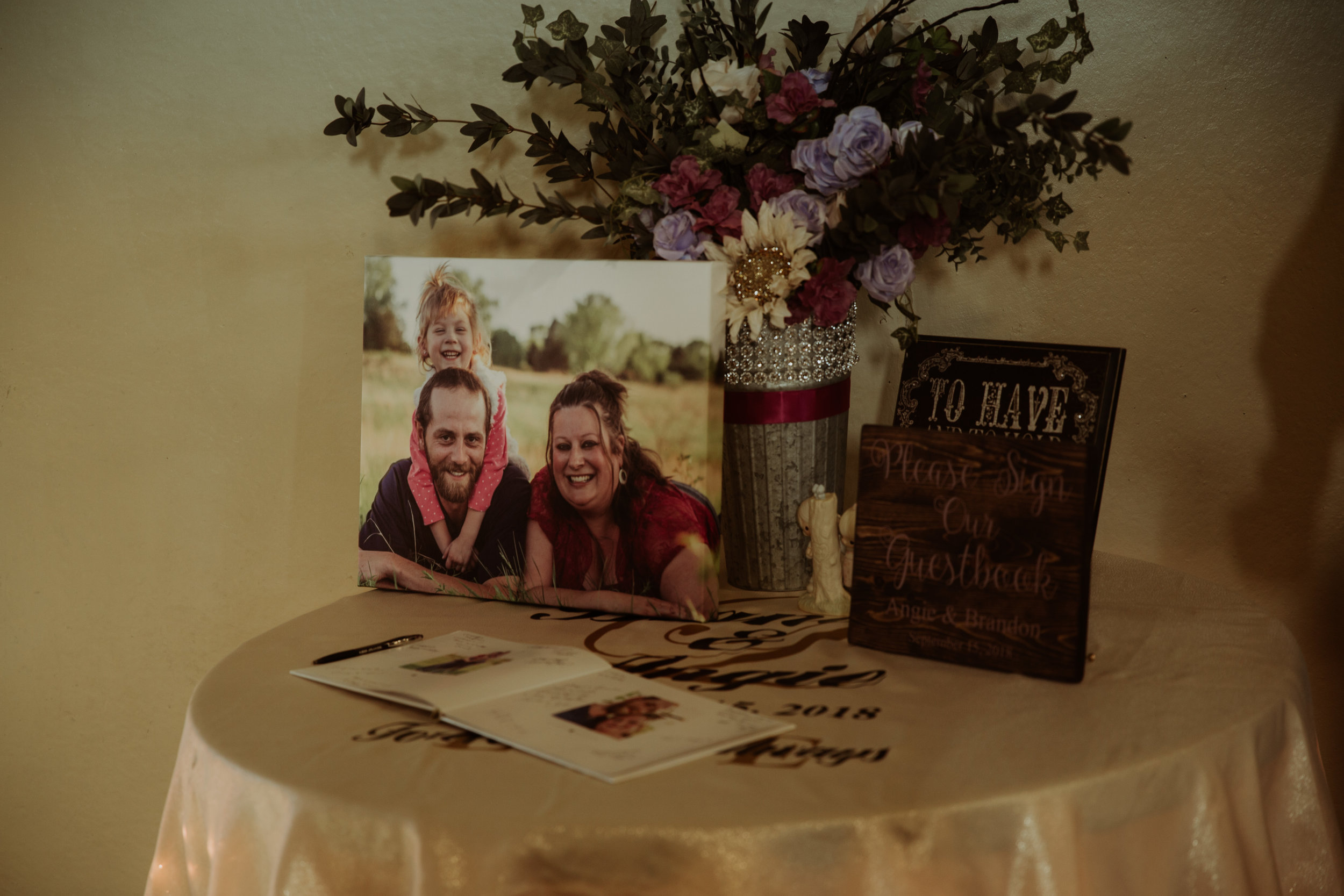 This couple incorporated their daughter into their Engagement Session. Then they had a guest book printed that included images from their Engagement Session.