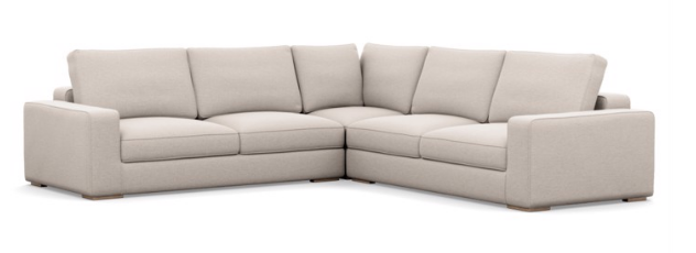 Ainsley Custom Sectional in Linen Pebble Weave with Natural Oak Legs