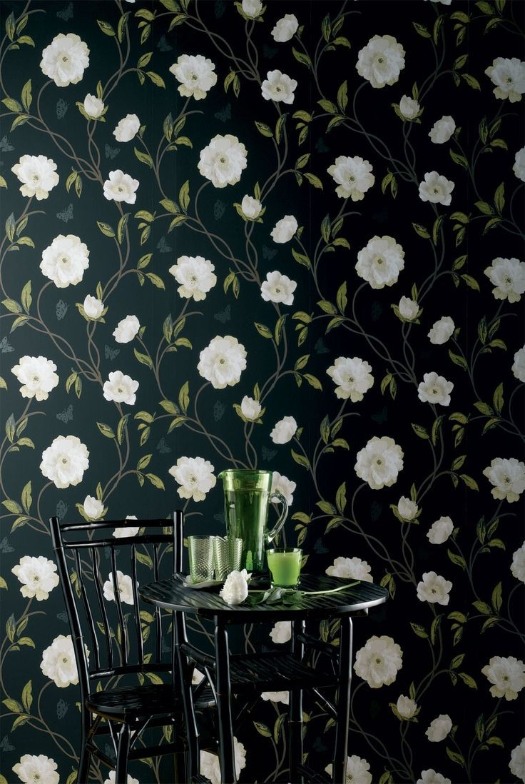 """Image courtesy of Décor Aid ~  The darker tones of Nina Campbell's  """"Peony Place"""" wallpaper  provide a moody, elegant alternative to typical floral fare."""