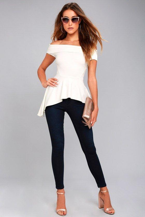 Lulus - White Off-the-Shoulder top ($46) + Kick It Black Trouser pants ($44)