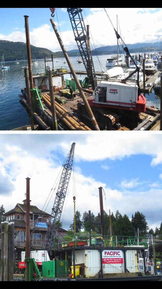 Pier restoration underway, june 10th, 2018
