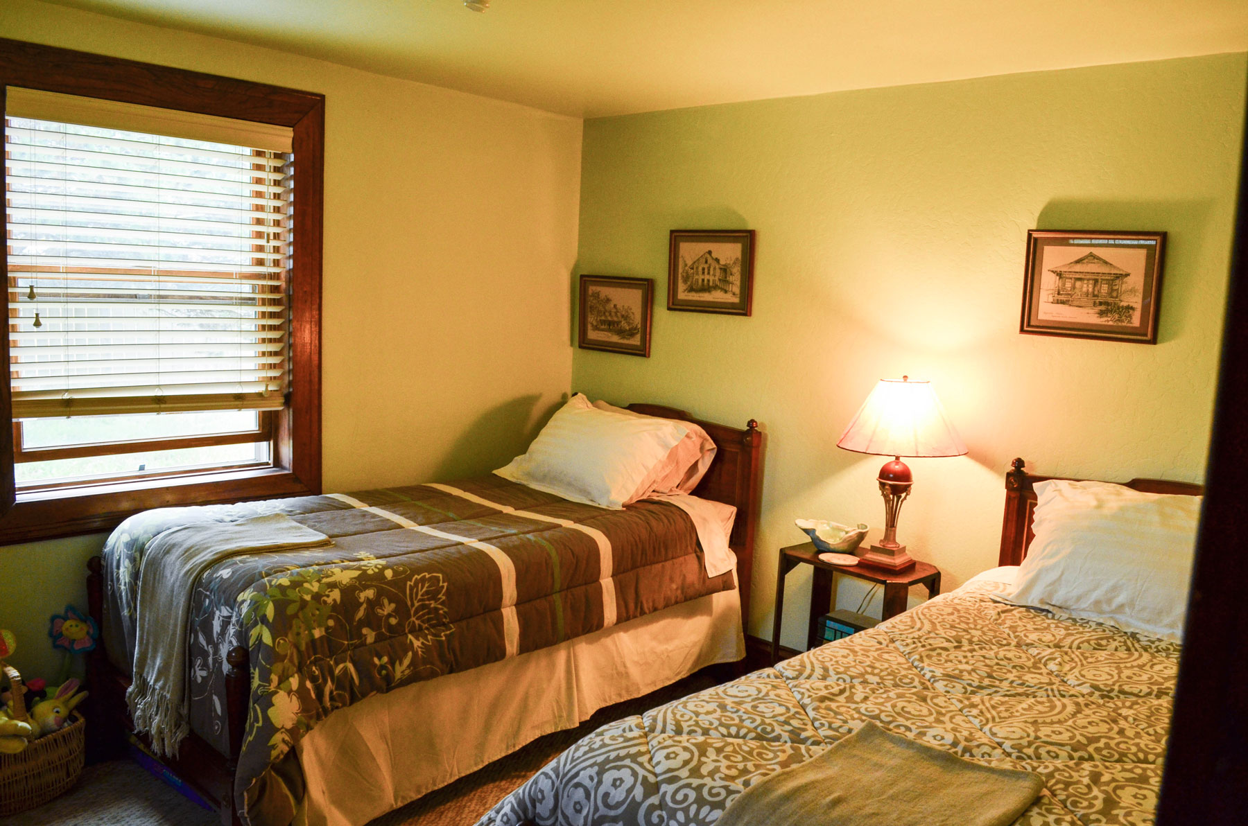 the secondary bedroom at the Bridge Cottage at B. Bryan Preserve in Point Arena, CA on the Mendocio Coast