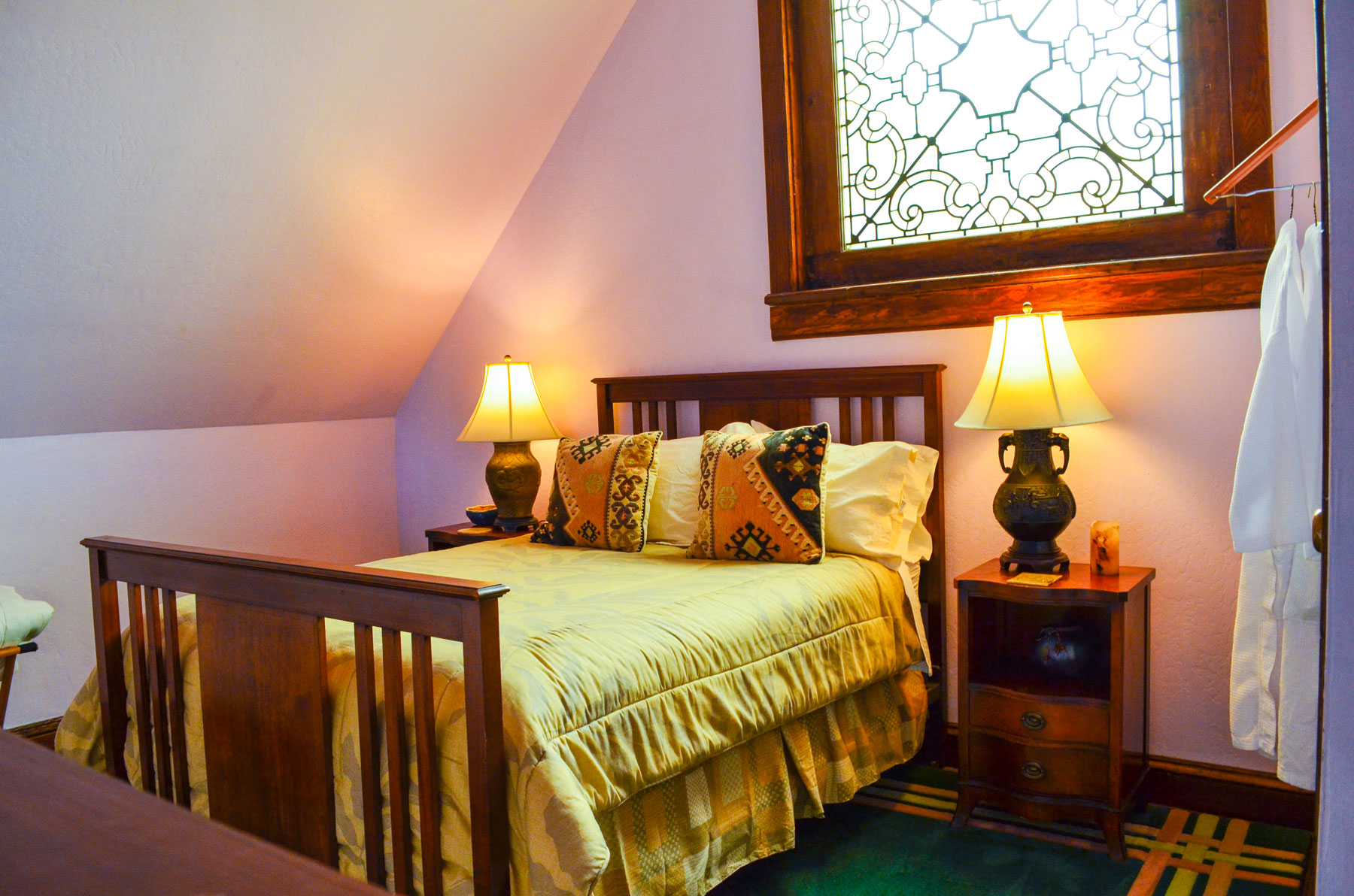 A bedroom in the Bridge Cottage at B. Bryan Preserve