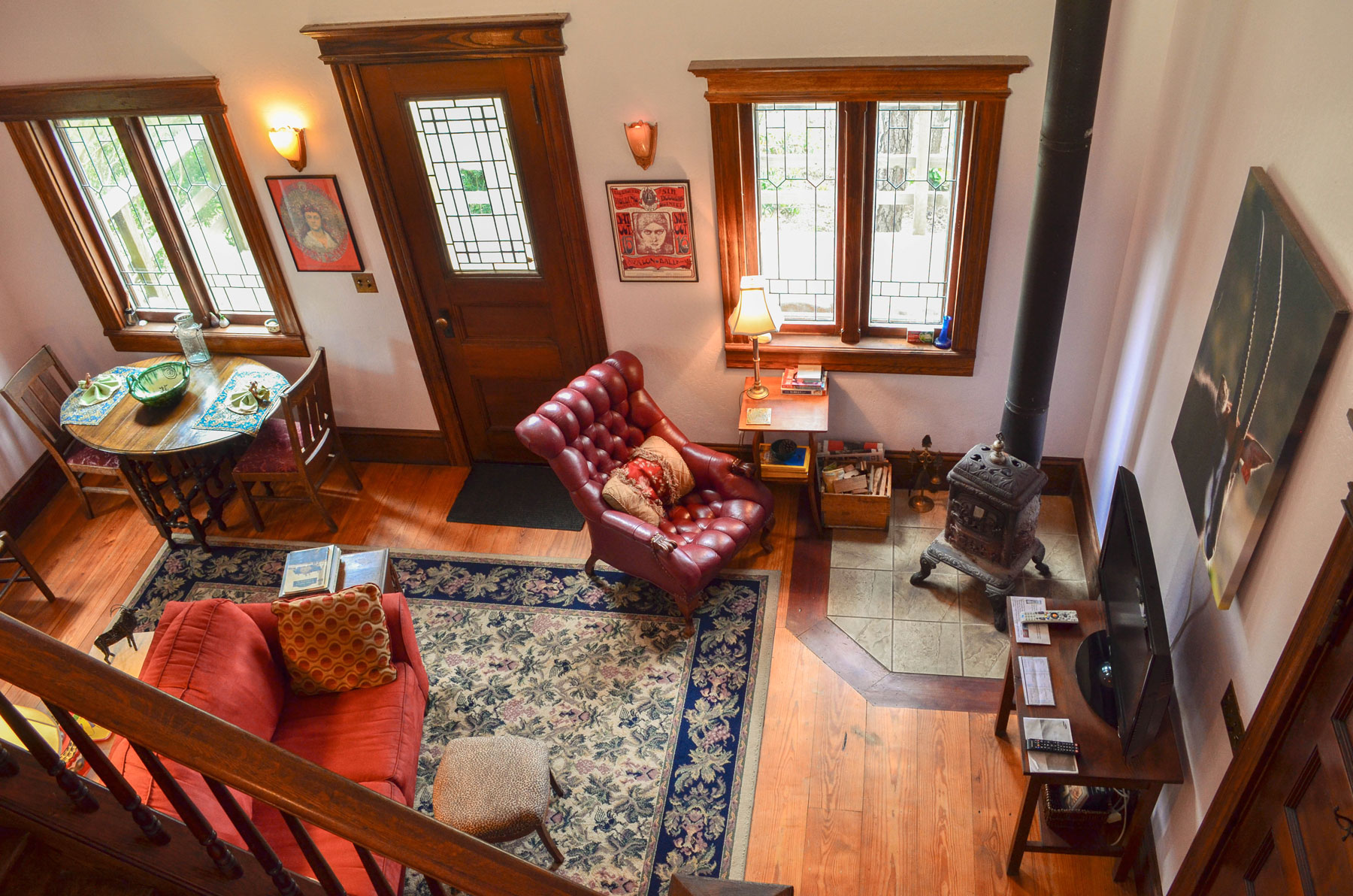 the living room at at the Bridge Cottage at B. Bryan Preserve on the Mendocino Coast