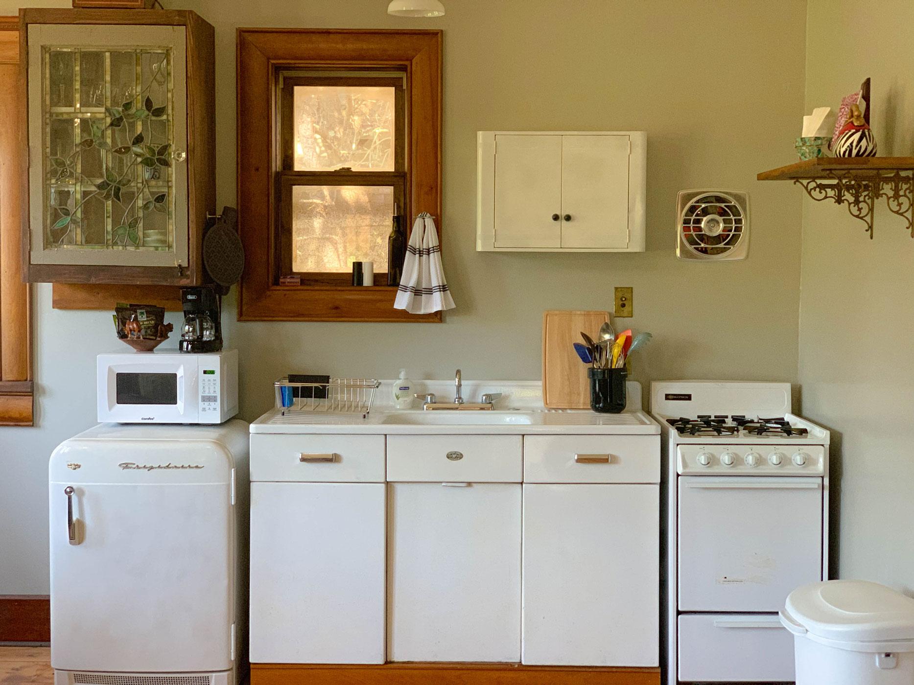 Zebra Cottage kitchen at B. Bryan Preserve in Point Arena, CA