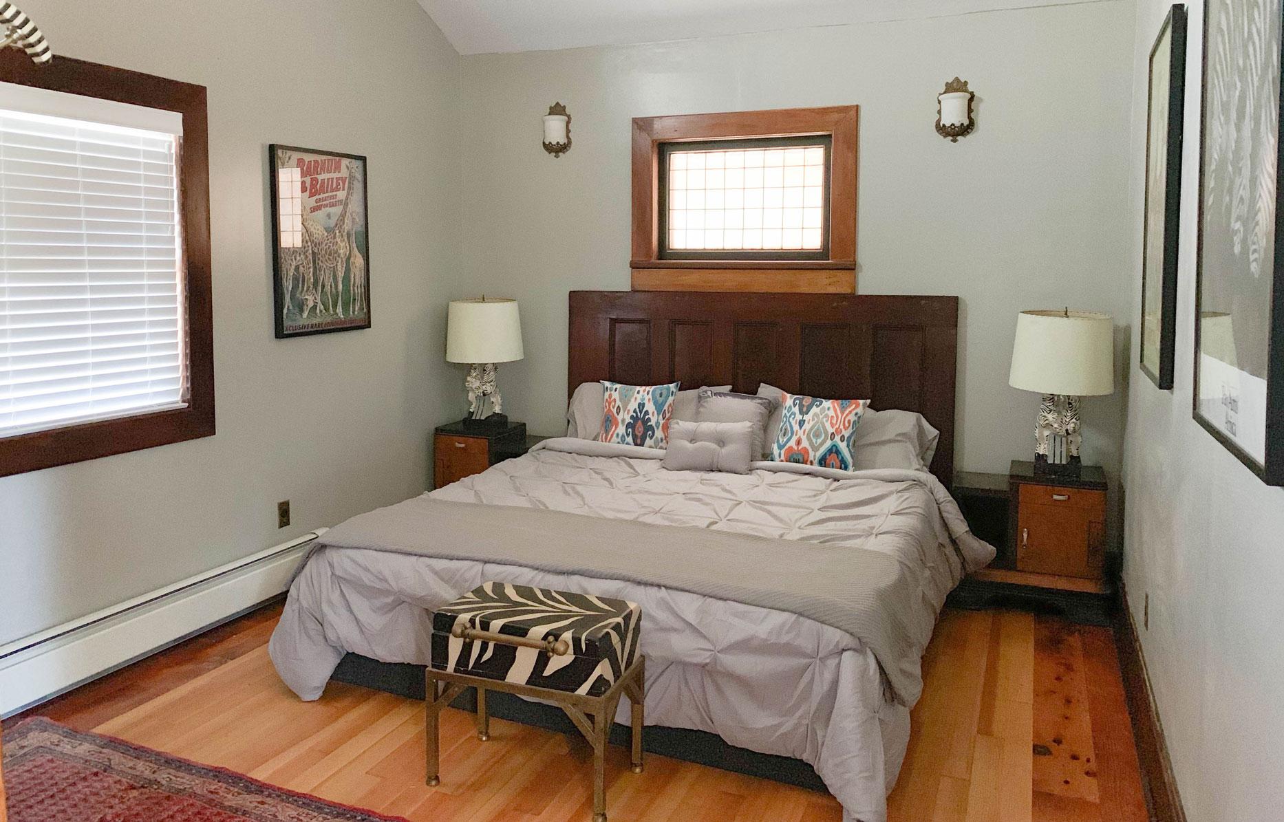 Zebra Cottage bedroom at B. Bryan Preserve on the Mendocino Coast