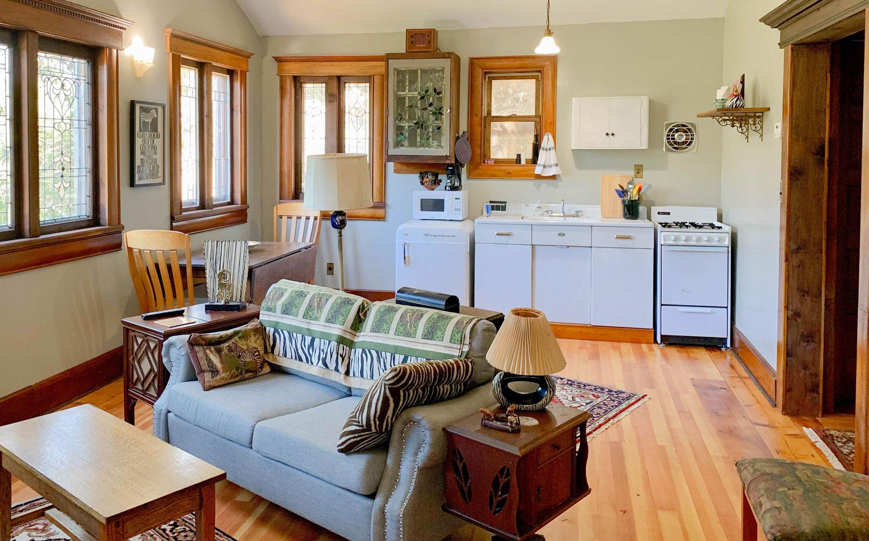 Zebra Cottage living room at B. Bryan Preserve